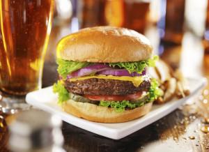 hamburger in restaurant